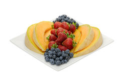 Fruit desert of berries and cantaloupe Royalty Free Stock Photography