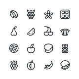 Fruit and desert icons in thin line style Royalty Free Stock Photography