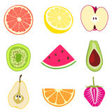 Fruit designs. Vector illustration of 9 different fruit design vector Royalty Free Stock Photography