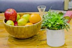 Fruit on desk Stock Images