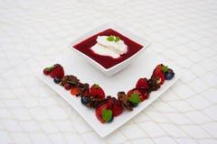 Fruit dessert. With berries and ice cream Stock Photo