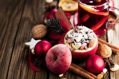 Fruit dessert baked red apples stuffed with granola.  stock photography