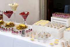 Fruit and dessert buffet Stock Photography
