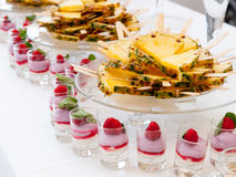 Fruit and dessert buffet Stock Photos