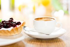Fruit dessert and coffee Royalty Free Stock Images