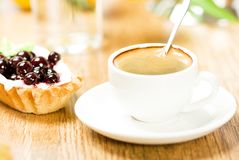 Fruit dessert and coffee Royalty Free Stock Photography