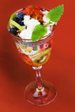 Fruit dessert with jelly. Royalty Free Stock Photography