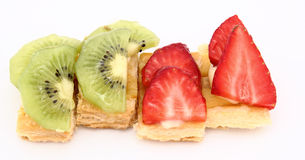 Fruit dessert of kiwi and strawberries Royalty Free Stock Image