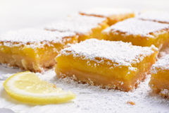Fruit dessert lemon squares. Close up view stock photography