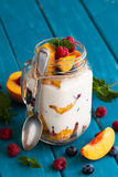Fruit dessert in a mason jar Royalty Free Stock Photos