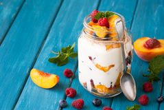 Fruit dessert in a mason jar Royalty Free Stock Photo