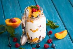 Fruit dessert in a mason jar Stock Photos