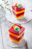 Fruit dessert Panna Cotta with candies in a glass on light background close up Stock Photography