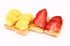 Fruit dessert of pineapple and strawberries Stock Photo