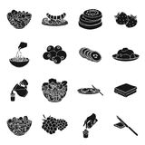 Fruit, dessert, sandwiches and other types of food. Food set collection icons in black style vector symbol stock. Illustration Stock Photos