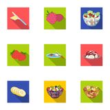 Fruit, dessert, sandwiches and other types of food. Food set collection icons in flat style vector symbol stock Royalty Free Stock Photos