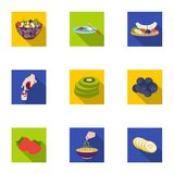 Fruit, dessert, sandwiches and other types of food. Food set collection icons in flat style vector symbol stock. Illustration Royalty Free Stock Photo