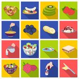 Fruit, dessert, sandwiches and other types of food. Food set collection icons in flat style vector symbol stock. Illustration Stock Photography