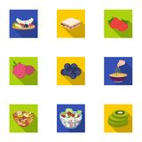 Fruit, dessert, sandwiches and other types of food. Food set collection icons in flat style vector symbol stock. Illustration Royalty Free Stock Image