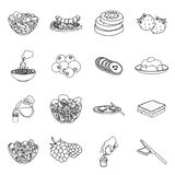 Fruit, dessert, sandwiches and other types of food. Food set collection icons in outline style vector symbol stock. Illustration Stock Images