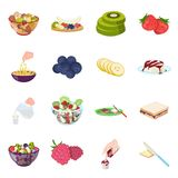Fruit, dessert, sandwiches and other types of food. Food set collection icons in cartoon style vector symbol stock. Illustration Stock Photos