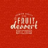 Fruit dessert seamless pattern and emblem Royalty Free Stock Image