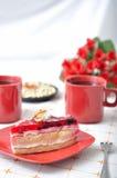 Fruit dessert with tea and napkin Royalty Free Stock Photo