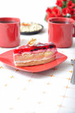 Fruit dessert with tea and napkin Royalty Free Stock Photography