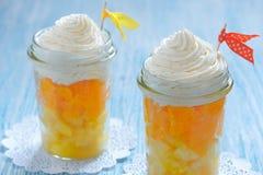 Fruit dessert with vanilla cream Stock Photos