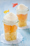 Fruit dessert with vanilla cream Royalty Free Stock Photo