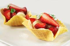 Fruit dessert, waffle baskets Stock Image