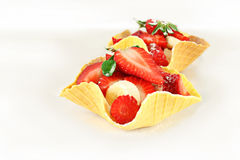 Fruit dessert, waffle baskets Stock Photo