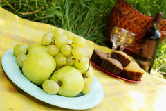 Fruit, dessert and wine Royalty Free Stock Images