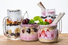 Fruit desserts in a jar Stock Photos