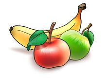 Fruit diet. Illustration of banana and two apples collected for lunchtime Royalty Free Stock Photos