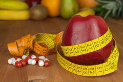 Fruit diet. The concept of healthy diet food. Diet for athletes. Stock Image