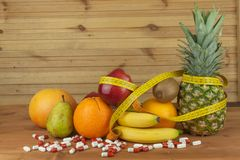 Fruit diet. The concept of healthy diet food. Diet for athletes. Royalty Free Stock Photography