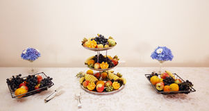 Fruit dish. Close up on three tiered fruit dishes. Royalty Free Stock Images