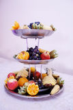 Fruit dish. Close up on three tiered fruit dishes. Royalty Free Stock Photos