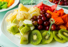 The fruit in the dish. Fruit in a plate ready to eat Stock Photos