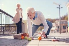 Fruit dispersé par rassemblement plus âgé d'homme de la terre Photos stock
