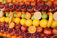 Fruit display. Mouthwatering delicious tropical fruit display ideal for a healthy diet and lifestyle Stock Photography
