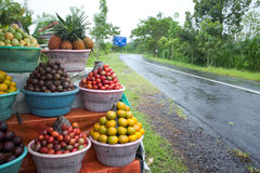 Fruit display. On small streetside stall in Bali Royalty Free Stock Photo