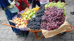 Fruit Display at Market. Fruit Display in wheelbarrow at Market in South America Stock Images