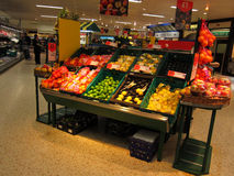 Fruit display in supermarket. Stock Image