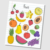 Fruit doodles - lined paper Stock Photo
