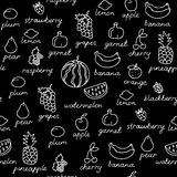 Fruit doodles seamless vector pattern. Stock Photos