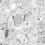 Fruit doodles seamless vector pattern. Hand drawn summer backdrop Stock Image