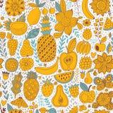Fruit doodles seamless vector pattern. Hand drawn summer backdrop Stock Photos