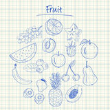 Fruit doodles - squared paper Royalty Free Stock Images